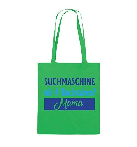 Comedy Bags - Suchmaschine mit 4 Buchstaben? Mama - Jutebeutel - lange Henkel - 38x42cm - Farbe: Schwarz / Weiss-Neongrün Grün / Hellblau-Royalblau