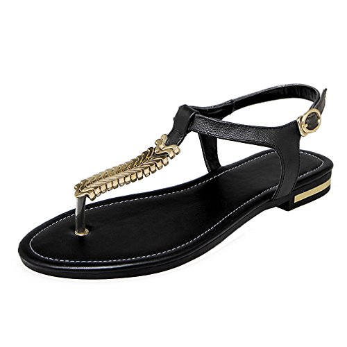YE Damen Flache Ankle Strap Sandalen Zehentrenner mit Schnalle und Kette Bequem Schuhe Schwarz