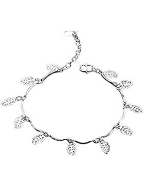 fablcrew Knöchel Armband Fußkettchen Kette Einfach Silber Blätter Anhänger Kette Barfuß Sandale Mädchen Schmuck