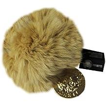 FERETI Pompon de pelo de conejo Beige oscuro para bolsos o llavero