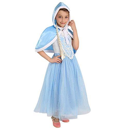 Kostüm Sandy Kinder - Mädchen Cinderella Kostüm Aschenputtel Prinzessin Kleid mit Umhang Cosplay Verkleidung Karneval Faschings Halloween Kostüme Geburtstag Weihnachten Festzug Festkleid Party Outfit 6-7 Jahre