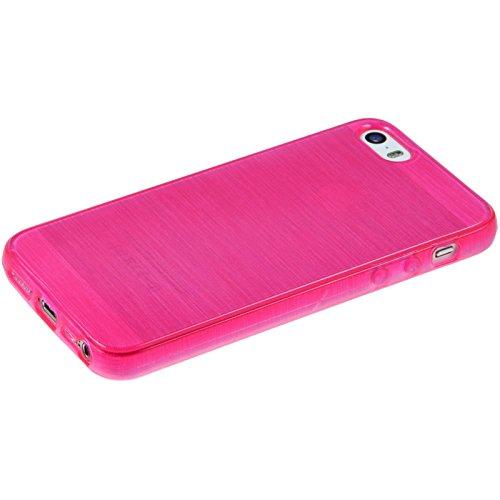 Coque en Silicone pour Apple iPhone 5 / 5s / SE - brushed vert pastel - Cover PhoneNatic Cubierta + films de protection rose chaud