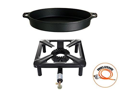 Hockerkocher mit 8.5 kW Leistung, Abmessung 30x30x15 cm und Gusseisenpfanne Ø 40 cm inkl. Gasschlauch & Regler