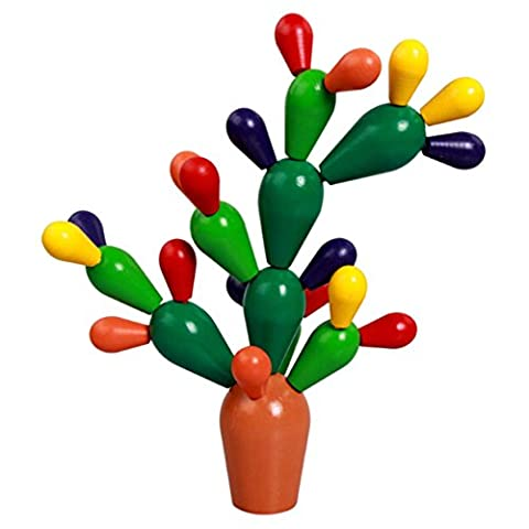 Lalang Bébé Blocks en bois Montessori Geometric Classification Board Jouets éducatifs pour Enfants Bâtiment Blocks Fleur de Cactus (Orange)