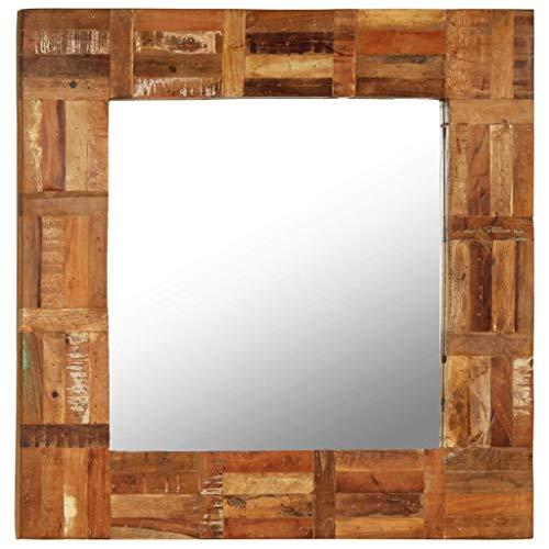 vidaXL Wandspiegel Altholz 60x60cm Badspiegel Flurspiegel Holzspiegel Spiegel