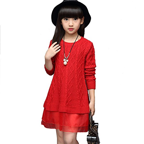 KVbaby Mädchen A-Line Strickkleider Langarm T-shirt Kleid Prinzessin Lace Jumper Mini Kleid Pullover