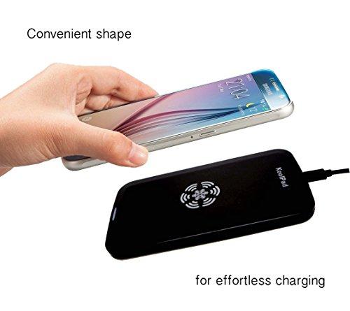 Schwarzes Koolpad Qi Wireless Charger Pad für alle Qi-kompatiblen Geräte, einschließlich iPhone XS, XS Max, XR, X, 8, 8+, Samsung Galaxy S10, S10+, S10e, S9, S9+, Pixel 3, 3 XL und andere Qi-fähige Tablets und Telefone.