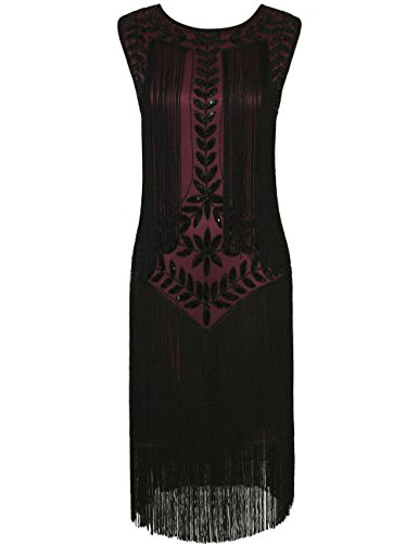 kayamiya Damen Great Gatsby Kleid 1920er Paillette Quaste Charleston Kleider XL Burgund