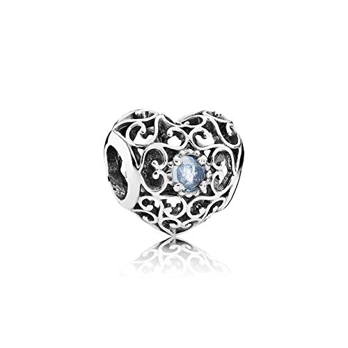 Pandora Damen-Charm März Herz 925 Silber Kristall weiß - 791784NAB