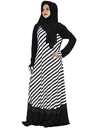 D C Women's Lycra Abaya Burqa with Hijab and Mouthpiece (BQ_012, Black and White, Free Size)