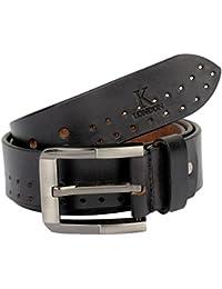 K London Men Casual, Evening, Party Black Genuine Leather Belt (blk_dbl_punch)