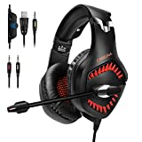 HUOU Auriculares Cascos Gaming con Cable (Red)