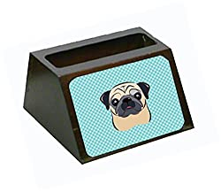 Carolines Treasures Checkerboard Blue Fawn Pug Decorative Desktop Wooden Business Card Holder, Large, Multicolor