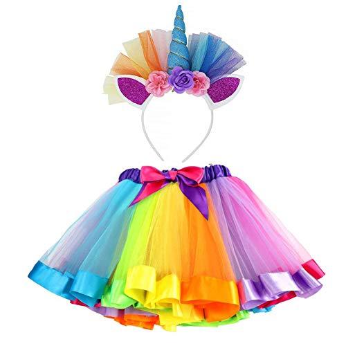Kleinkind Kostüm Kleine Meerjungfrau - VAMEI TüTü Kinder Rainbow TüTü Rock für Kleinkind Mädchen Ballett Kostüm Fotos mit Einhorn Blume Stirnband für Little Pony Dress Up Fun