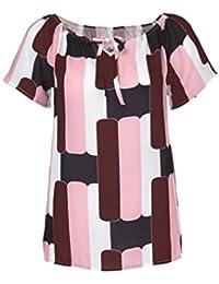 Mujer blusa tops sexy elegante Atractivo moda urbano,Sonnena Las mujeres de moda fuera de manga corta camiseta Chica gasa estampada blusa verano fiesta citas playa