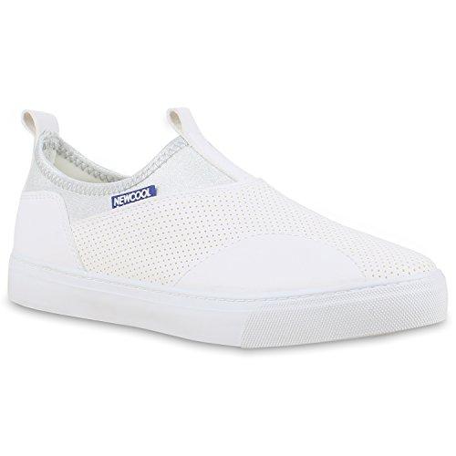 Damen Sneakers Slip-ons Sportliche Slipper Freizeit Schuhe Weiß