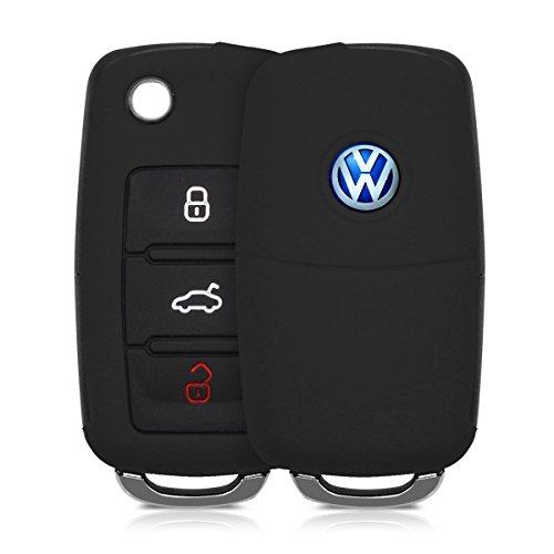 kwmobile Custodia in silicone per VW Skoda Seat 3-Pulsante Chiavi della Macchina chiavi cover protettiva astuccio chiavi case in nero