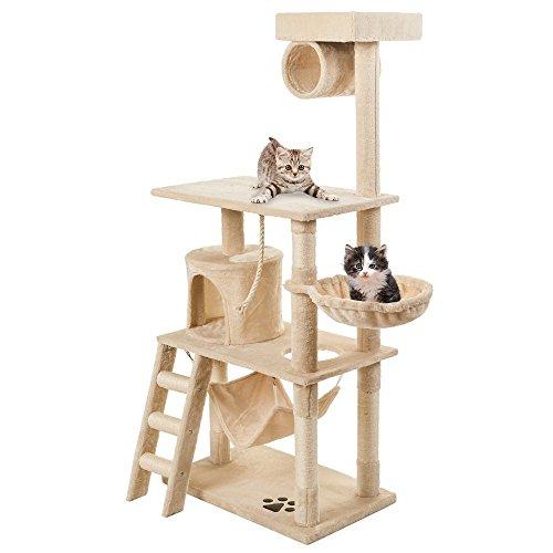 PURLOVE® Large Cat Tree Scratching Post Multi-Level Cat Scratcher Activity Tree 3 Tier Cat Climbing Tower Furniture (Beige)