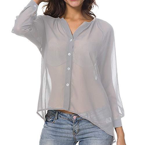 TEFIIR T-Shirt für Frauen, Sommer-Frauen-kragenloses langes Mitgliedertag Sommer-Räumungsabwicklung,günstige Preisaktion Hülsen-Knopf-Chiffon- beiläufiges Hemd Geeignet für Freizeit und Dating - LangÄrmeliges Stretch-crewneck