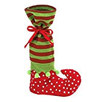 Qinlee Christmas Elf Candy Gift Storage Bags Red Wine Bottle Cover Bags Wrap Wave Point Socks Candy Sweet Holder Xmas Christmas Ornaments Décor