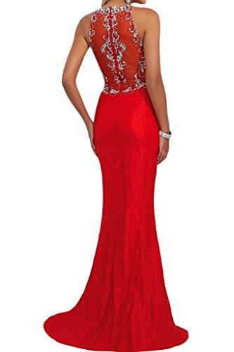 Ivydressing Damen Beliebt Rundkragen Steine Etui-Linie Festkleid Partykleid Abendkleid Rot