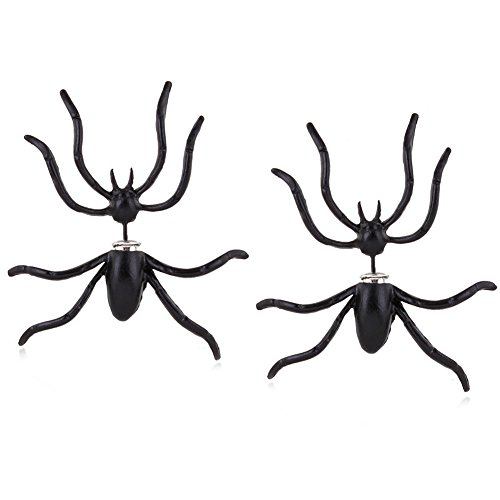 XY Fancy Damen 2pcs Spinne Front-Back-Ohrringe Halloween Mode Schmuck Schwarz