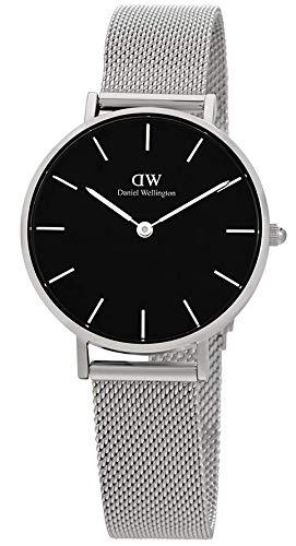 Daniel Wellington Damen-Armbanduhr Classic Petite Sterling Analog Quarz One Size, schwarz, Silber