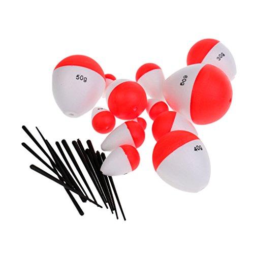MagiDeal 14 Stk. Gemischt Gewicht Ballposen Wasserkugeln Forellenposen Posen Forellen