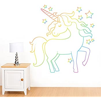 Magical White Unicorn U0026 Rainbow Stars Mural Wall Sticker   Girlu0027s  Childrenu0027s Art Vinyl Decal Transfer