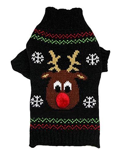PengGengA Hund Hundepullover Hundepulli Strickpullover Haustier Sweater Kostüme Hunde Stehkragen Jumper Für Kleinen Großen Hund Schwarz - Großer Hunde Kostüm