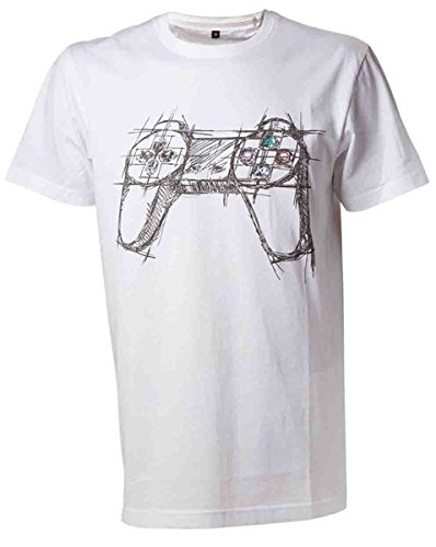 PLAYSTATION White Controller-T-shirt  Uomo    bianco Large
