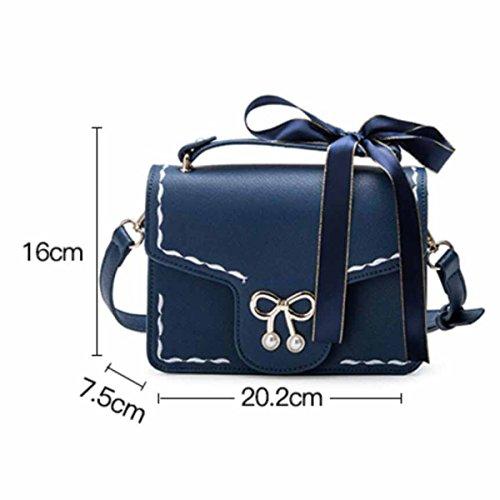 Retro Kleine Quadratische Tasche Schulter Messenger Bag,Blue Black