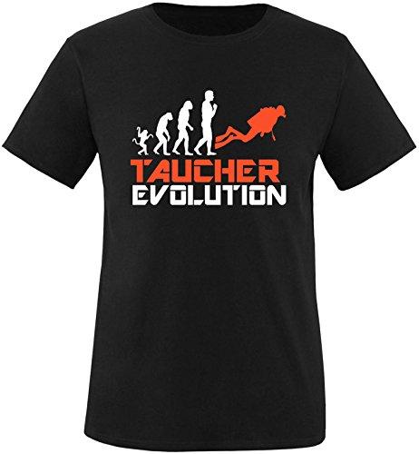 EZYshirt® Taucher Evolution Herren Rundhals T-Shirt Schwarz/Weiss/Orange