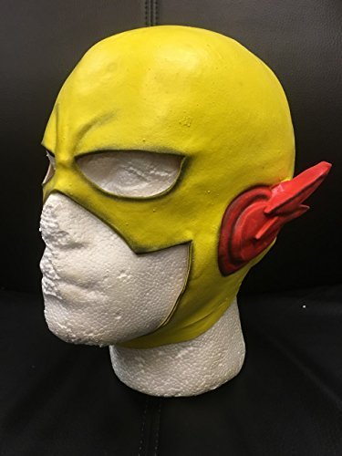 gelb Blitz Schädel Kappe Halloween Karneval Cosplay Gelb Latex Cosplay Voller Kopf Helm Maske - universell playing (Helm Schädel Kappe)