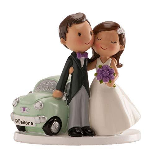 Figura grabada personalizada con los nombres de los novios y la fecha de la boda.