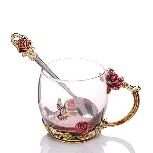Gsc-home tazza di caffè e piattino tazza di caffè in vetro set san valentino regalo di compleanno di natale per lei. (colore : multicolore, dimensione : s)