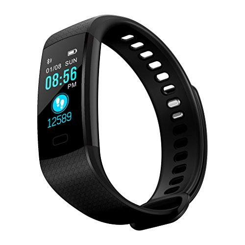 JAGETRADE Y5 Bluetooth Smart Band Armband Pulsmesser Schrittzähler Fitness Tracker, Schwarz