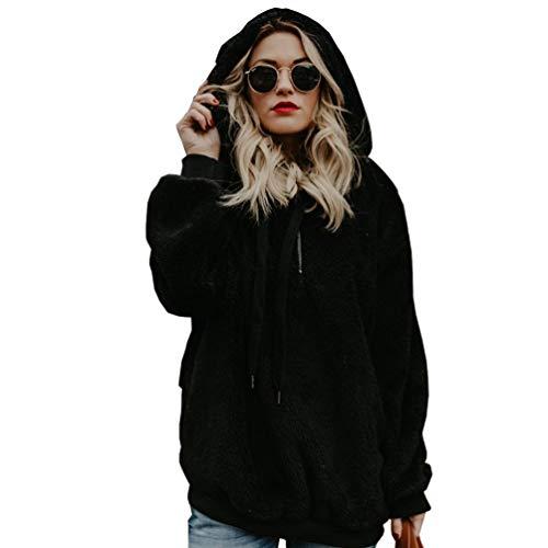 Ketamyy donna tinta unita manica lunga coulisse felpa con cappuccio inverno caldo 1/4 anteriore cerniera pelliccia ecologica pullover tops nero 3xl