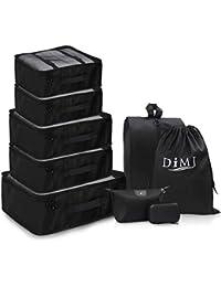 Set de 9 organisateurs de Voyage avec Sac Noir Grand Cube imperméable Sacs Rangement de Valise Voyage pour Vêtements/Cosmétiques/Chaussures (noir)