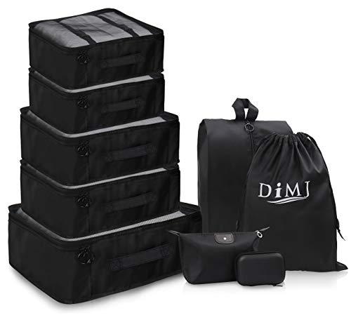 Set de 9 organisateurs de Voyage avec Sac Noir Grand Cube imperméable Sacs Rangement de Valise Voyage pour Vêtements/Cosmétiques/Chaussures (Set de Voyage)