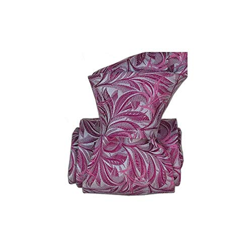 Segni et Disegni - Cravate Classique Segni Disegni Pure Soie, Feuilles Roses