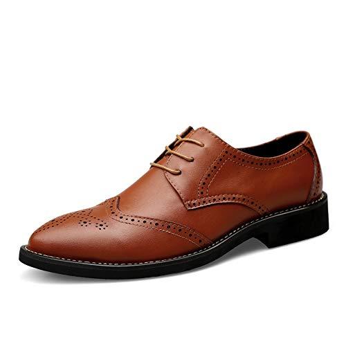 Herrenschuhe, Neue Frühlingsmode Oxford Business Männer Schuhe Aus Echtem Leder Hohe Qualität Weiche Lässige Atmungsaktive Herren Wohnungen Schnürschuhe (Farbe : Braun, Größe : 45)