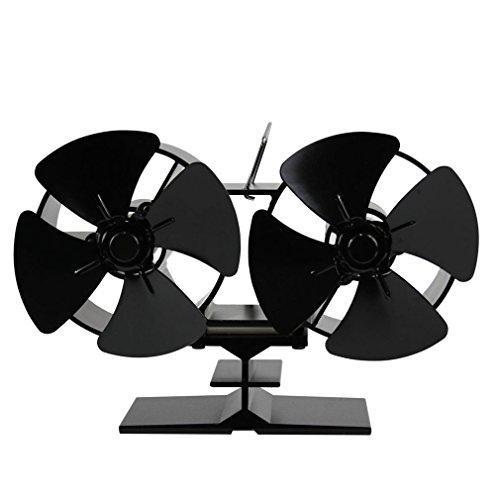 Tatayang Kaminventilator ohne strom Ofenventilator thermoelektrisch, Doppelter Hitze angetriebener Ofen Fans Doppel Hitze Kamin-Ventilator für Holz/LOG Brenner, Schwarz (8 Klingen)