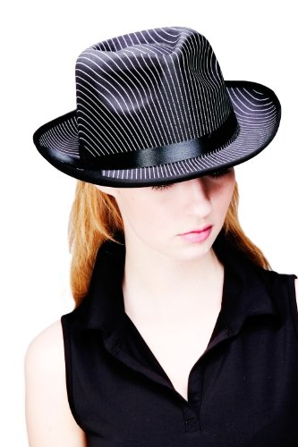 DRESS ME UP - Hut Fasching Karneval Fedora gestreift Retro Gangster Schwarz Weiß H25