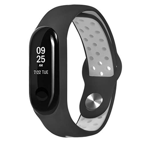 samLIKE 丨 Armband für Xiaomi Mi Band 3 Ersatzarmband 丨 Weich Silikon Band 丨 Handgelenk Ersatzband 丨 Atmungsaktiv Multi-Löcher 丨 260MM x 18MM 丨 für Herren/Damen 丨 4 Beliebte Farben ( Grau)