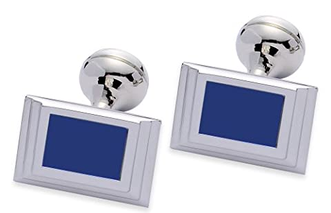 Square Mile Rhodium Plated Base Metal with Blue Cats Eye Stone Cufflinks