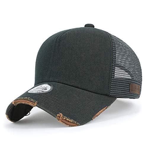 ililily Baumwolle Denim Netz Kappe gebogen Baseball Cap blank abgenutztes Aussehen Trucker Cap Hut, Dark Green Denim, Medium