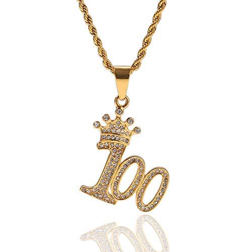 CMIAO Männer Nummer Anhänger, Hiphop Krone Anhänger Iced Out Digital 100 Anhänger Vergoldung Kette Halskette Inlay Strass Schmuck Zum Weihnachten Geburtstag Geschenk