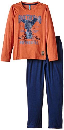 Lenny Sky Jungen Zweiteiliger Schlafanzug Gr. 122, Blau - Bleu (Orange Brule/Marine)