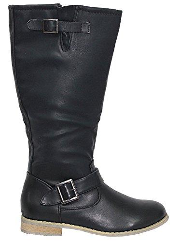 Foster Footwear Klassische Damen-Reitstiefel Coconel, Kunstleder, Fellbesatz, Schnalle, flacher Blockabsatz, hoch, Größe 36-42, Braun - Schwarz  - Größe: 40